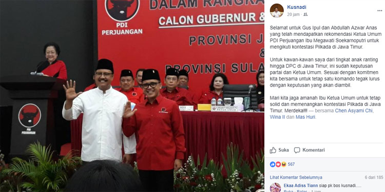 Kusnadi: Seluruh Kader PDIP Jatim Harus Tegak Lurus pada Keputusan Partai