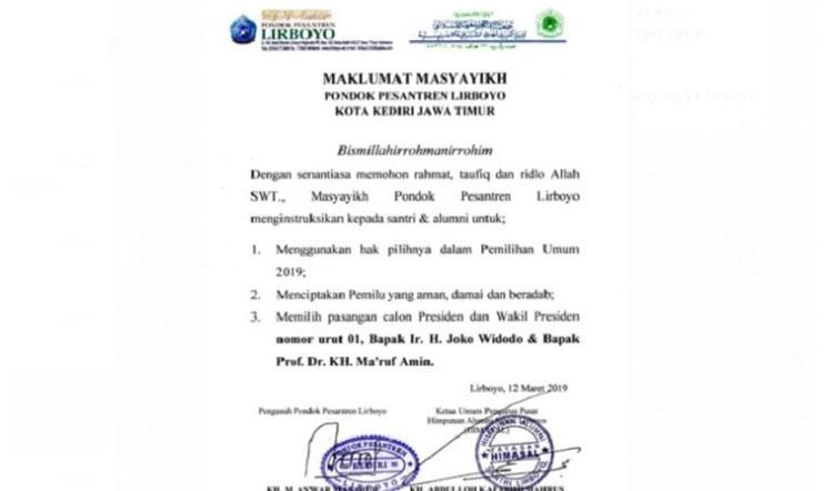 Pesantren Lirboyo Terbitkan Maklumat Para Kiai untuk Dukung Jokowi-Ma'ruf
